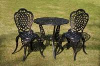Комплект мебели «Лион» Чёрный. Стол и два стула