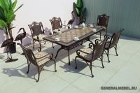 Комплект литой мебели Дженерал Керамик. Стол 188см и 6 кресел