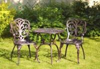 Комплект мебели Кружева из литого алюминия стол и два стула. Опт