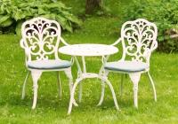 Белый комплект Кружева. Стол высокий 60см. и два кресла