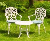 Белый комплект мебели Кружева. Стол кофейный и два кресла