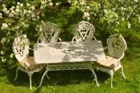 Комплект обеденный стол 150см и 6 кресел, белый.