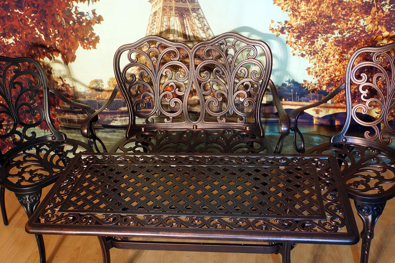 Балконная мебель, столик на балкон и лоджию, кофейный комплект мебели для балкона, стол из литого алюминия, садовая мебель, уличные столы и кресла, чугунная мебель