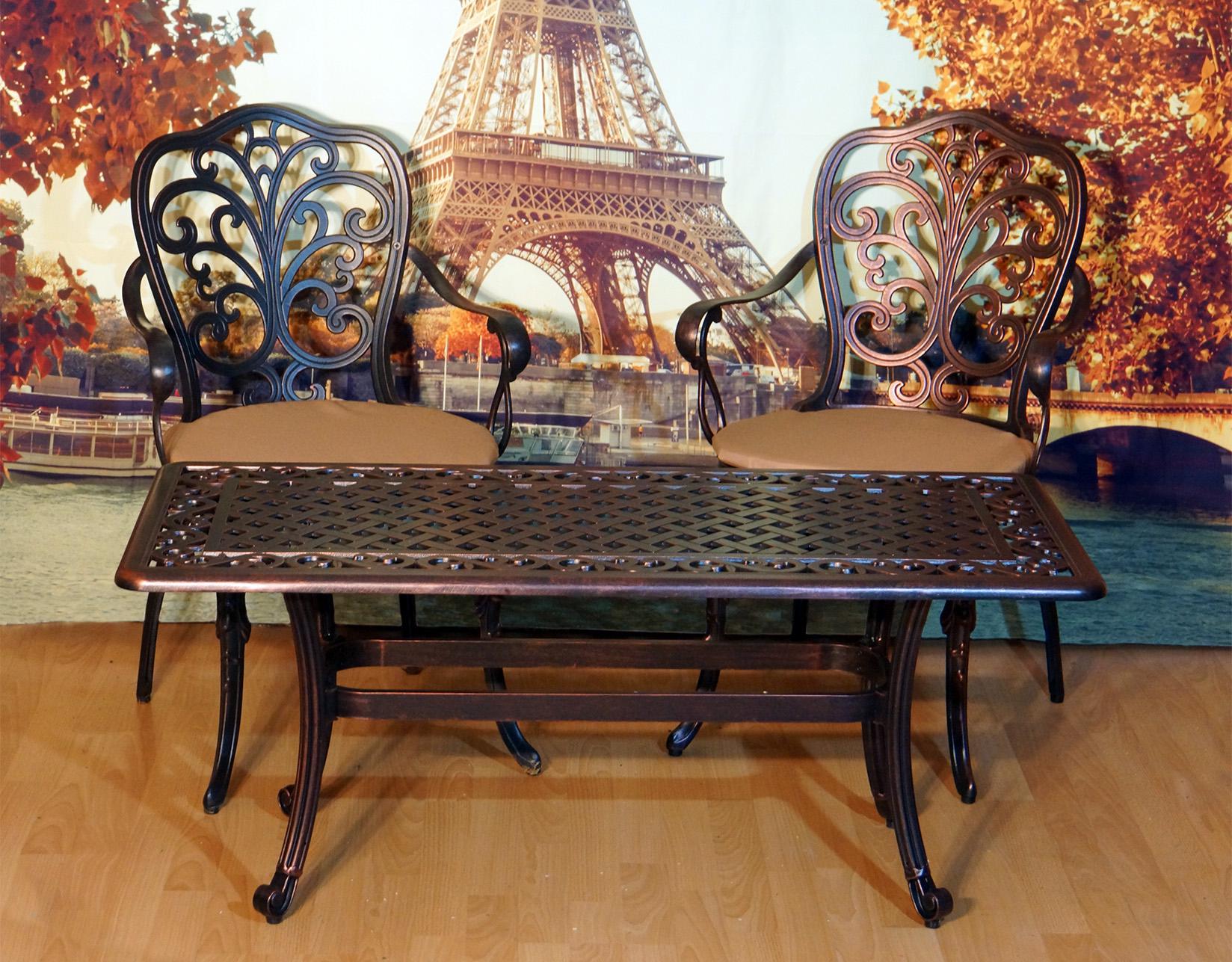 Стол на балкон и лоджию, узкий кофейный стол, садовая мебель, стол из металла для дачи и сада, мебель из литого алюминия, чугунные столы и стулья.
