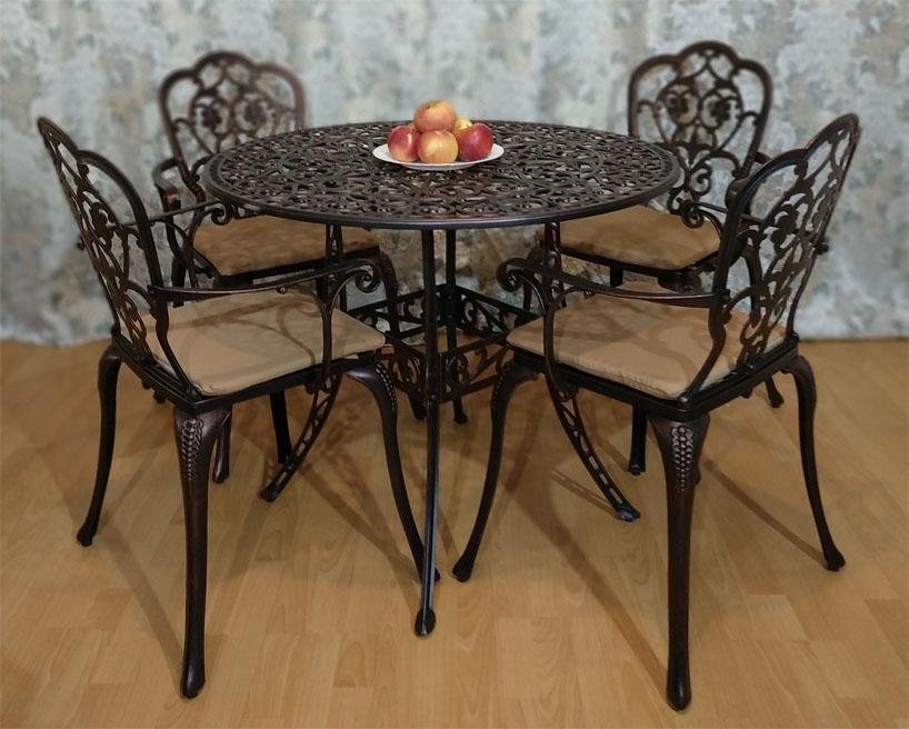Корсика нью, литая мебель из металла, чугунный столик, чугунное кресло, мебель для дачи металлическая на балкон и лоджию, мебель для сезонных кафе