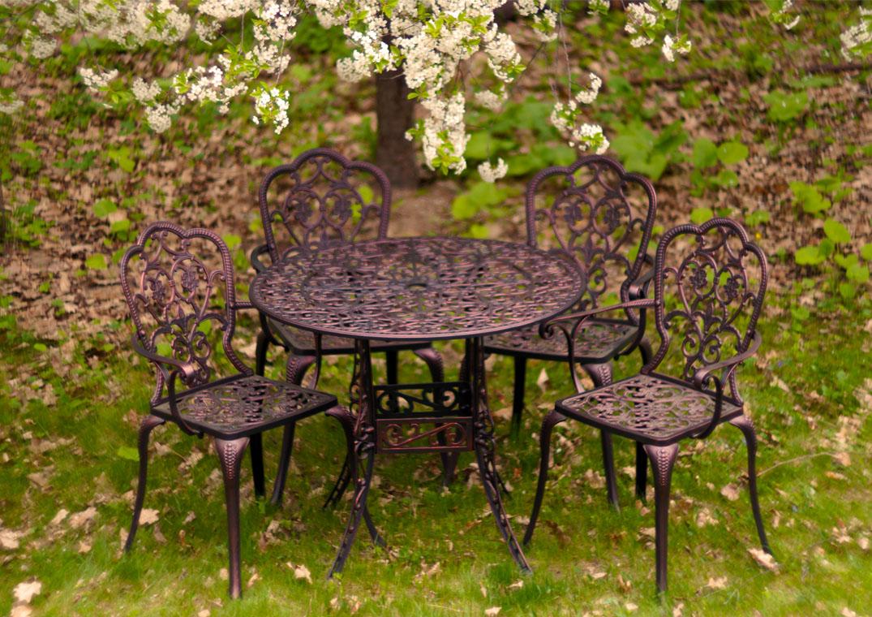 Корсика нью литой обеденный комплект садовой мебели, садовое кресло и стол из металла, литая мебель из металла для дачи, мебель для летних веранд кафе