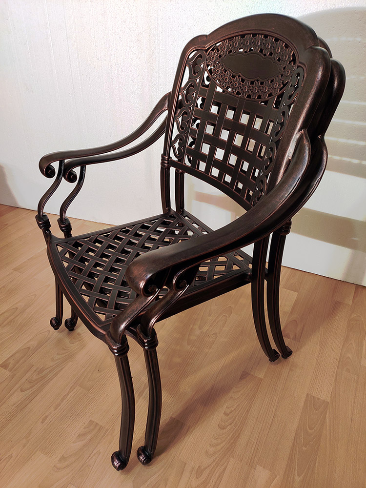 Мебель из литого алюминия для кафе, кресла из чугуна и легкого сплава, садовая мебель, стул и стол металлические в сад, мебель патио, балконная мебель