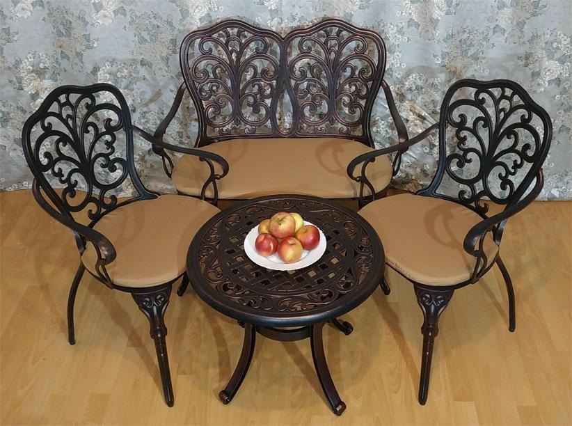 Металлическая садовая мебель литая из алюминия и чугуна для дачи и кафе, кованая мебель столы и кресла металлические для ландшафтного дизайна