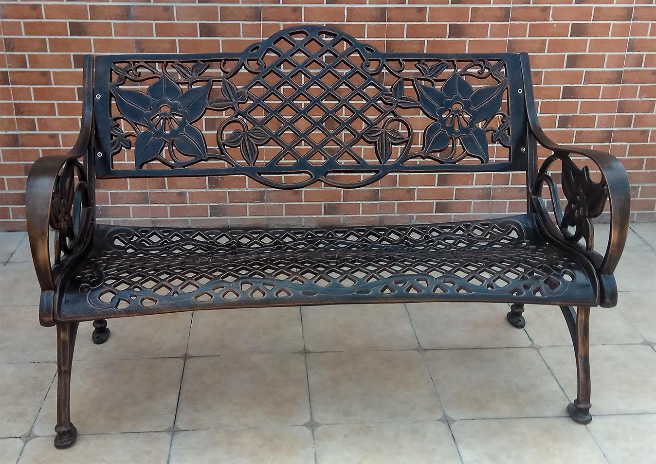 Скамья садовая из алюминиевого литья, лавка металлическая на дачу, чугунная мебель и мебель из литого алюминия, парковая скамья