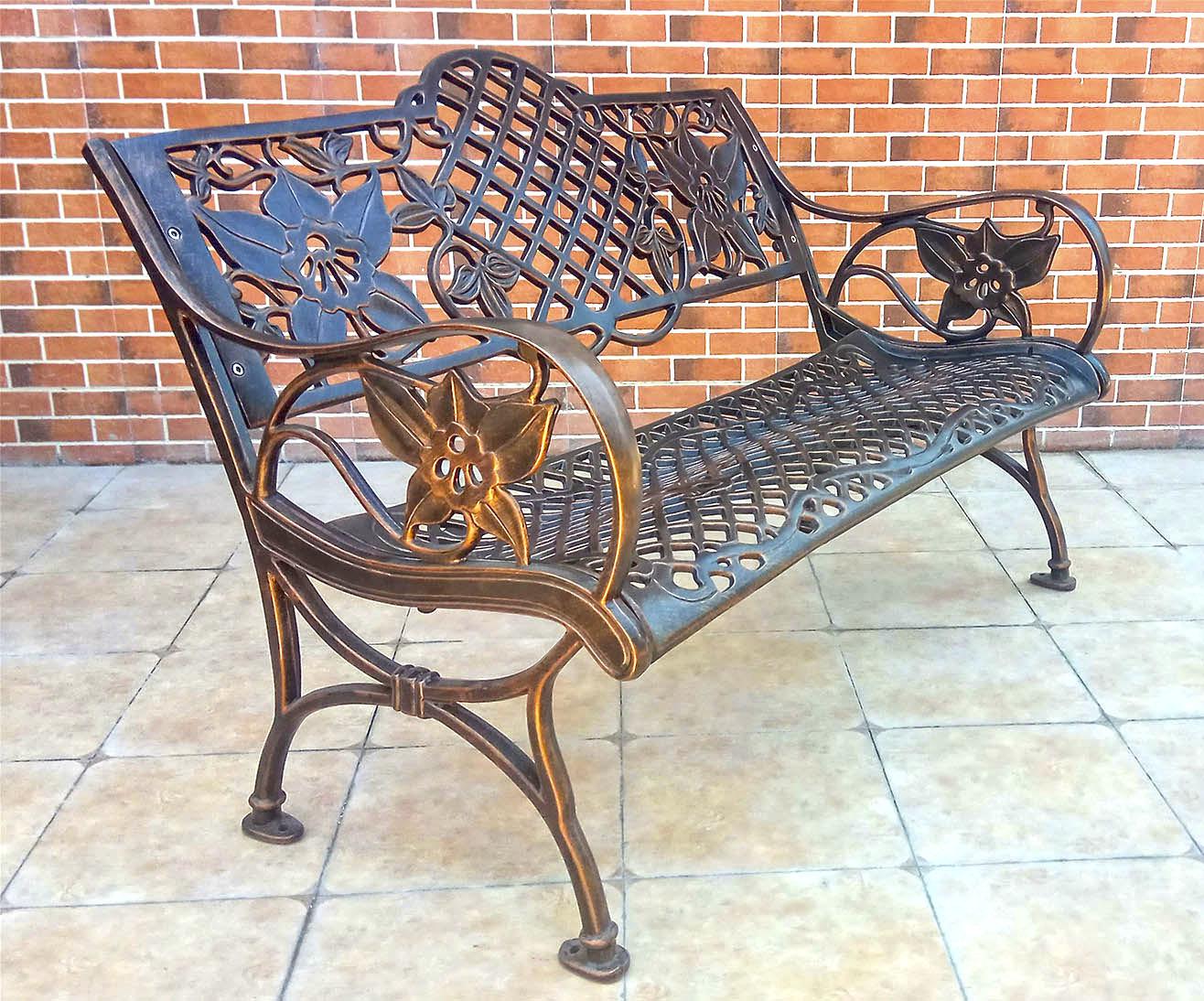 Лавка для дачи, садовая скамейка литьё алюминия и чугуна, всесезонная уличная мебель из литого алюминия, кованая скамейка