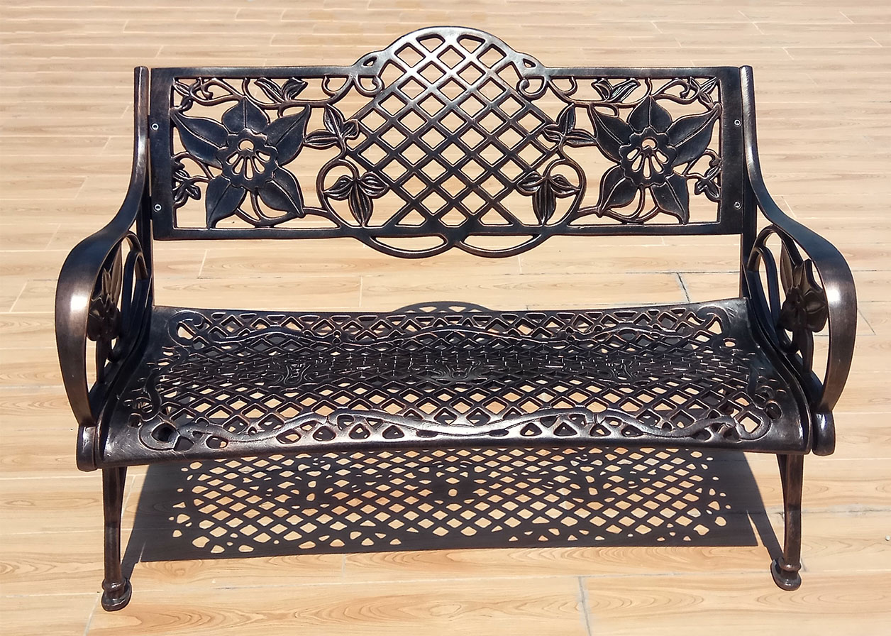 Скамейка садовая парковая, лавочка литье чугуна и алюминия, скамейка для дачи, чугунные боковины для скамеек, парковая мебель