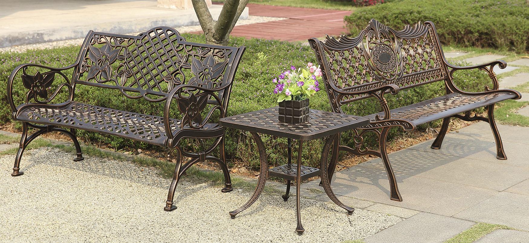 Парковая мебель, садовые чугунные скамейки литые, лавочки из литого алюминия, кованая мебель для сада и дачи