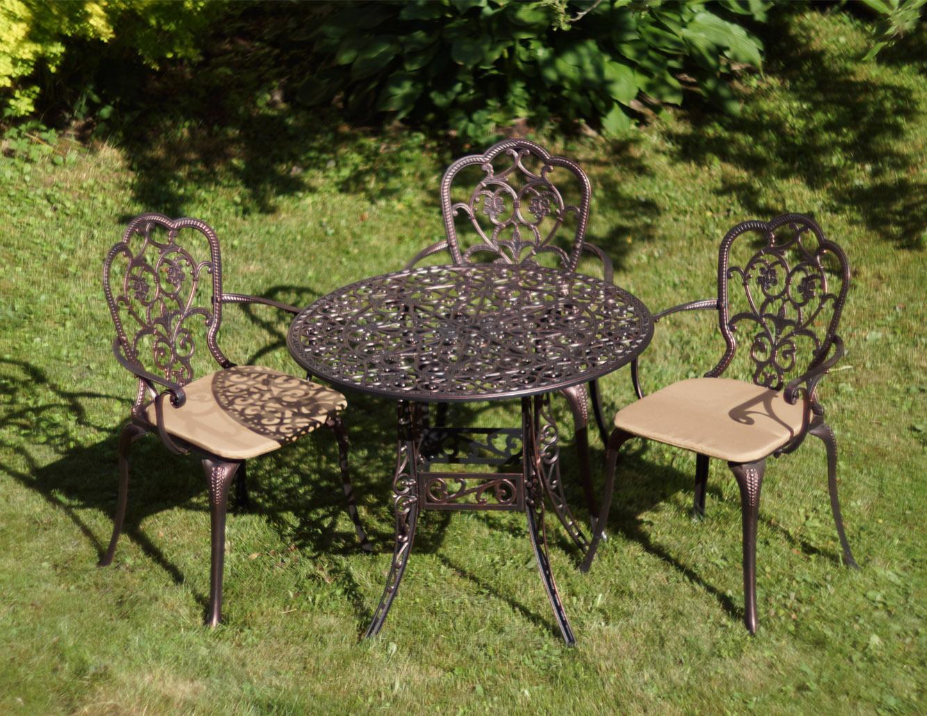 Садовая мебель из металла, металлическая мебель на балкон и лоджию, стол и стул металлические уличные, мебель из литого алюминия, чугунная мебель