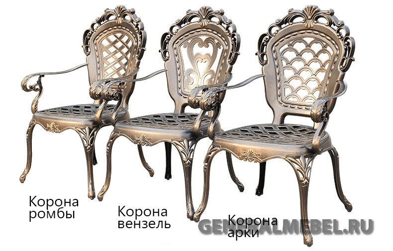 Литая металлическая мебель для улицы из алюминия, кресла из металла для загородного дома, литая мебель на балкон, кованая мебель в беседку и на террасу, литая чугунная мебель для летних кафе, мебель патио