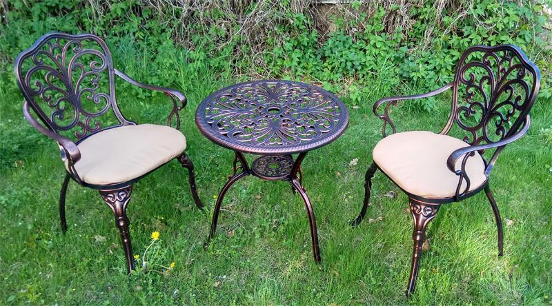 Садовая мебель чугунное литье алюминия для дачи, мебель патио для барбекю литая, кресла и столы для беседки, мебель на террасу и балкон
