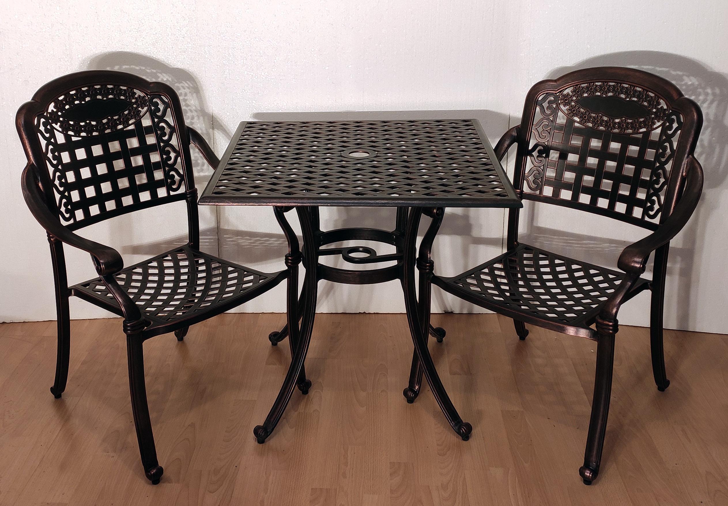 Столы и кресла для сада металлические, дачная мебель из металла, стул и стол из литого алюминия, чугунная мебель, столы и стулья для кафе металлические.