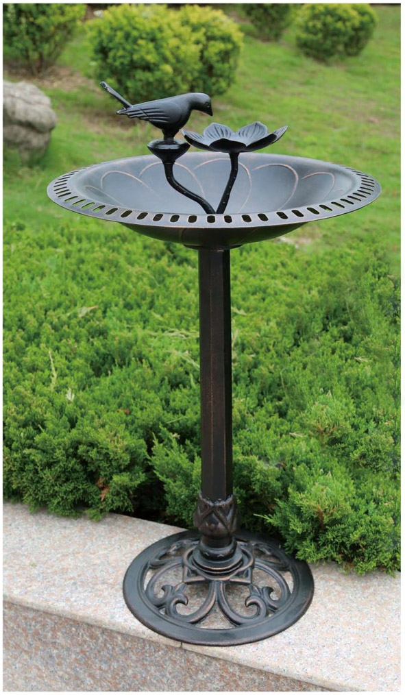 Чугунный декор сада, кормушка для птиц литая из металла, садовый декор, кормушка - поилка для птиц, садовая мебель из металла