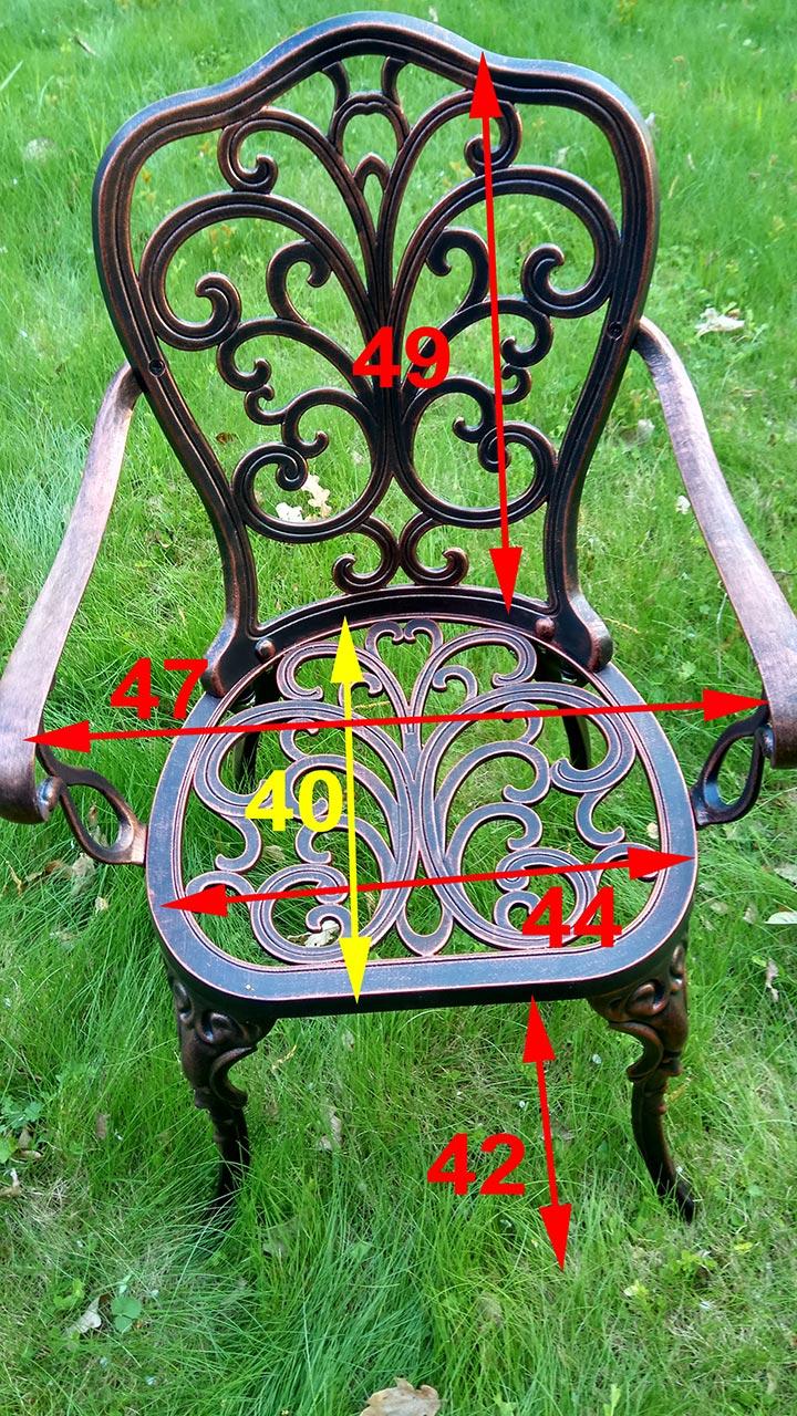 Кресло литое алюминиевое Кружева для коттеджа и дачи, металлическая литая мебель для загородного дома, кованая садовая мебель литье алюминия и чугуна