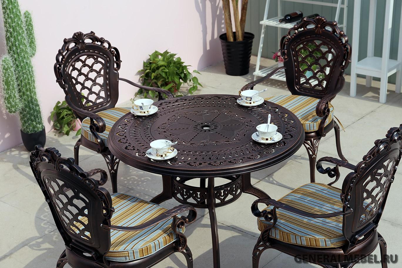 Садовая мебель из металла, стол и стулья из литого алюминия, кованая уличная мебель, чугунная мебель, столы и кресла из металла для кафе, дачная кованая мебель